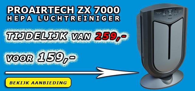 De ZX 7000 luchtreiniger is geschikt voor het reinigen van ruimtes tot 60 vierkante meter / 150 kubieke meter. Door de geavanceerde fotokatalyse techniek is de ZX 7000 in staat om bijna 100% van de bacteriën, virussen, schimmels en overige micro-organismen te elimineren.